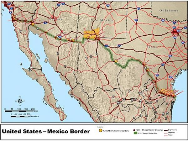 map of us mexico border