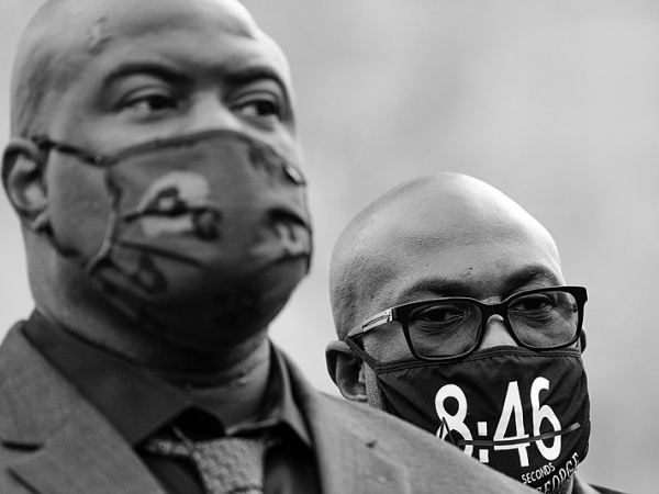 Rodney Floyd (foreground) and Philonise Floyd, brothers of George Floyd, outside the Hennepin County Government Center in Minneapolis, Minnesota