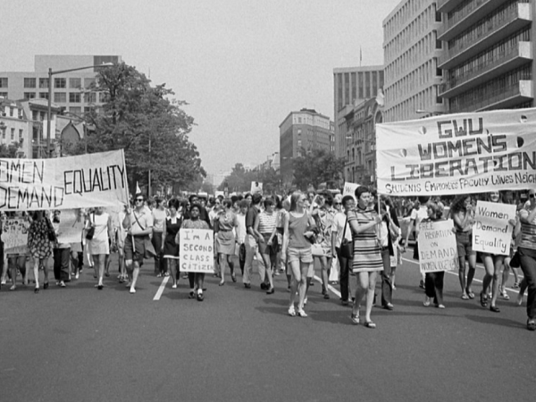 Women march in the streets for equal rights
