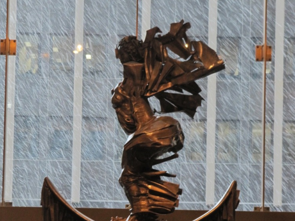 Sculpture commemorating the African Burial Ground National Monument