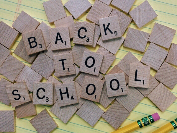 Going Back to School spelled out in scrabble letters