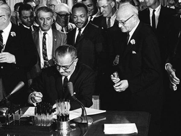 Lyndon Johnson signing Civil Rights Act, July 2, 1964