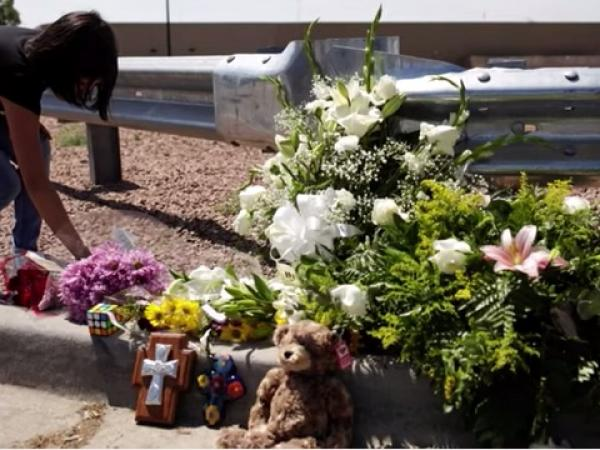 Flowers at a memorial for the mass shooting victims