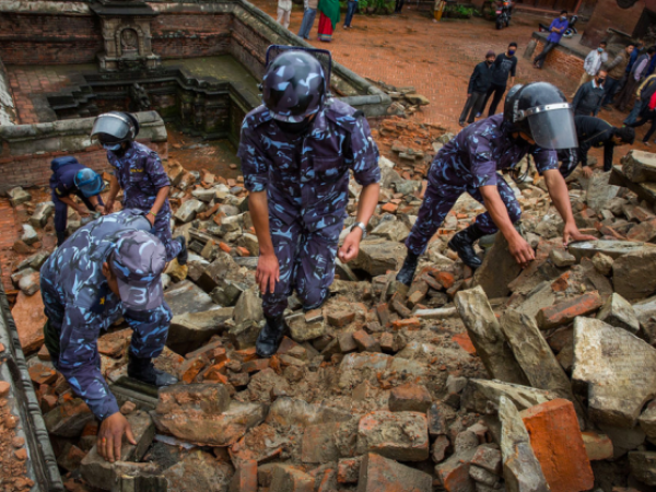 epali soldiers and police clear rubble from Durbar Square in Bhaktapur, Nepal, on April 30, 2015.