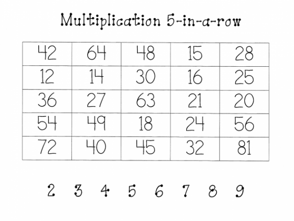 Multiplication Five in a Row