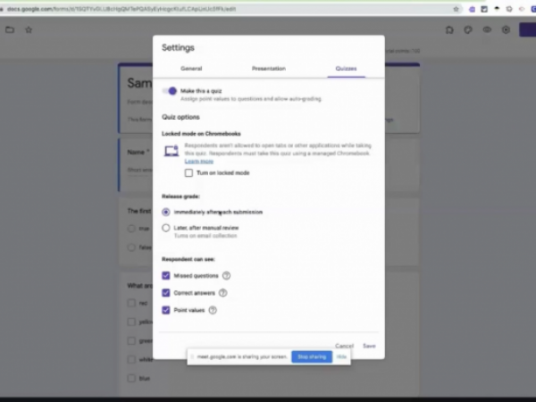 Formative Assessments Using Google Forms