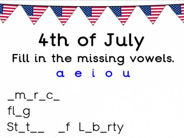 Missing Vowels 4th July Worksheet