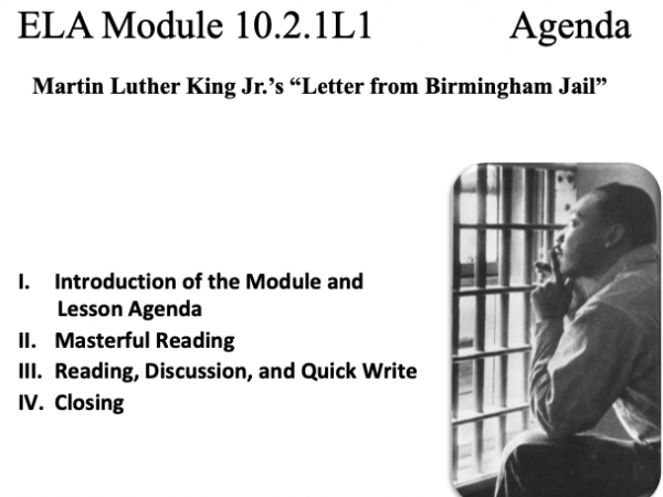 ELA Module 10.2.1 Letter from Birmingham Jail by Martin Luther King, Jr.