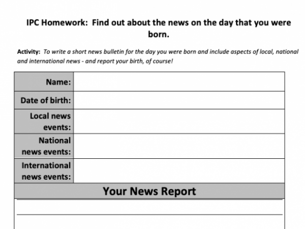 The day you were born: worksheet