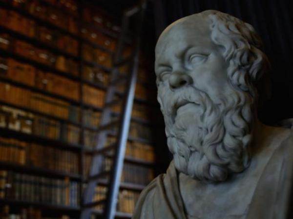 Statue of Socrates in Trinity College Library.