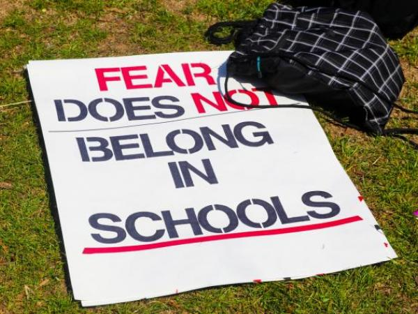 """Protest sign declaring, """"Fear does not belong in Schools.""""+"""
