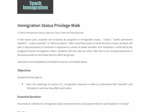 Immigration Status Privilege Walk