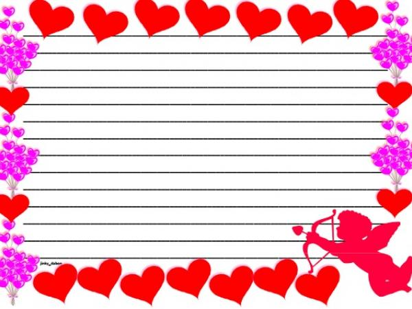 Valentines Day Themed Lined Paper and Pageborder