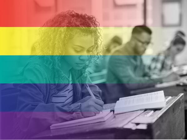 Image of students for pride month working on an LGBTQ lesson