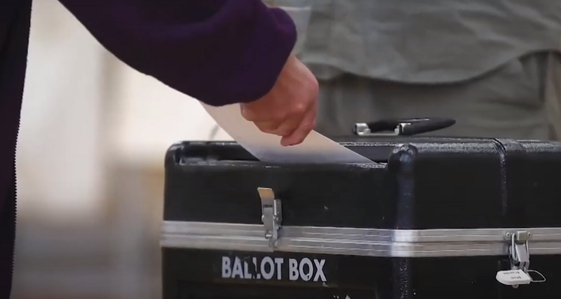 voting during a pandemic - a voter submits their ballot